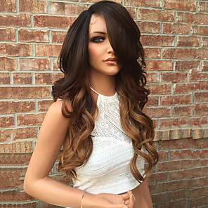 cheap Ceiling Lights-Human Hair Glueless Lace Front Lace Front Wig Layered Haircut Kardashian style Brazilian Hair Wavy Body Wave Ombre Two Tone Wig 130% Density with Baby Hair Ombre Hair Natural Hairline Glueless Women's