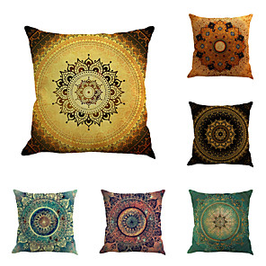 cheap Throw Pillow Covers-Set of 6 Linen Pillow Cover, Special Design Geometric Pattern Chic & Modern Fashion Throw Pillow