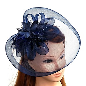cheap Hair Jewelry-Feather / Net Kentucky Derby Hat / Fascinators / Hats with Feather / Floral / Flower 1pc Wedding / Special Occasion / Horse Race Headpiece