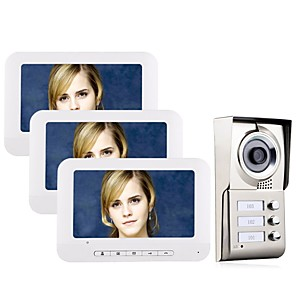 cheap Video Door Phone Systems-7inch LCD 3 Apartments Video Door Phone Intercom System IR-CUT HD 1000TVL Camera Wall Mounting Hands-free Smart Home Security Doorbell One to Two Video Doorphone