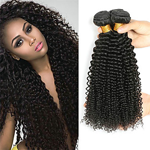 cheap Tools & Accessories-4 Bundles Hair Weaves Indian Hair Curly Human Hair Extensions Remy Human Hair 100% Remy Hair Weave Bundles 400 g Natural Color Hair Weaves / Hair Bulk Human Hair Extensions 8-28 inch Natural Color