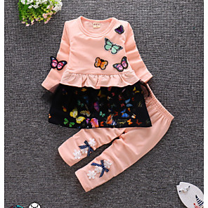 cheap Kids Collection Under $8.99-Baby Girls' Casual Daily Solid Colored Long Sleeve Regular Cotton Clothing Set Blushing Pink / Toddler