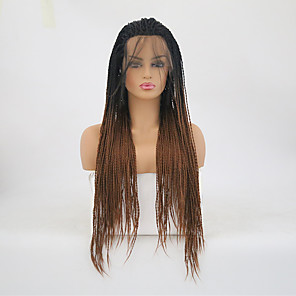 cheap Synthetic Lace Wigs-Twist Braids Synthetic Lace Front Wig Matte Braid Lace Front Wig Long Ombre Black / Medium Auburn Synthetic Hair Women's Heat Resistant Dark Brown