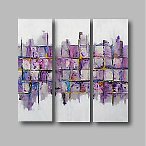 cheap Abstract Paintings-Oil Painting Hand Painted - Abstract / Landscape Comtemporary Canvas