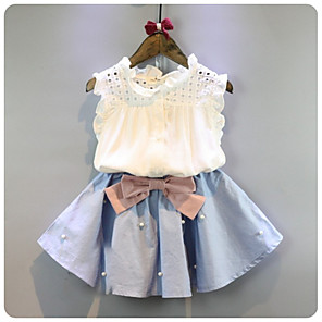 cheap Clutches & Evening Bags-Kids Girls' Basic Daily Solid Colored Sleeveless Short Regular Cotton Clothing Set White