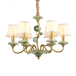 cheap Chandeliers-QIHengZhaoMing 6-Light 69 cm Candle Style Chandelier Metal Fabric Brass Modern 110-120V / 220-240V