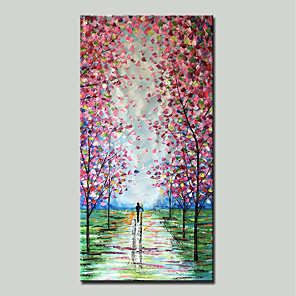 cheap Floral/Botanical Paintings-Mintura® Hand Painted Abstract Knife Landscape Oil Painting On Canvas Modern Wall Art Pictures For Home Decoration Ready To Hang