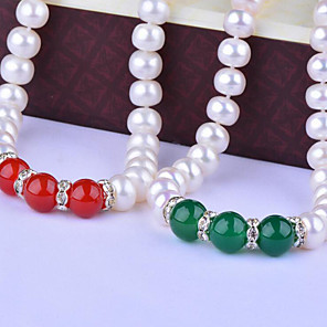 cheap Jewelry Sets-Women's Onyx Freshwater Pearl Choker Necklace Natural Elegant Fashion Stainless Steel Agate S925 Sterling Silver Red Dark Green 45 cm Necklace Jewelry 1pc For Party Gift