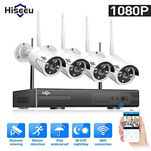 cheap CCTV Cameras-Hiseeu® 1080P Wireless CCTV System HDD 2MP 4CH Powerful NVR IR-CUT Waterproof CCTV Camera IP Security System Surveillance Kits Remote Viewing Day Night Motion Detection