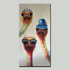 cheap Abstract Paintings-Mintura® Hand Painted Abstract Ostrich Animal Oil Painting On Canvas Modern Wall Art Picture For Home Decoration Ready To Hang