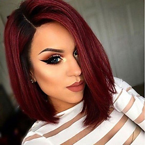 cheap Synthetic Lace Wigs-Synthetic Wig Synthetic Lace Front Wig Straight Short Bob Middle Part Lace Front Wig Burgundy Short Black / Burgundy Synthetic Hair Women's Adjustable Heat Resistant Ombre Hair Black Burgundy