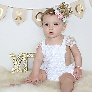 cheap Cell Phones-Baby Girls' Active / Basic Daily / Holiday Solid Colored Pure Color / Lace Trims Short Sleeves Bodysuit White / Toddler