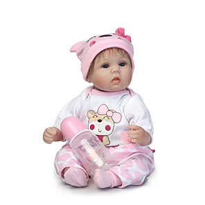 cheap Reborn Doll-NPKCOLLECTION 18 inch NPK DOLL Reborn Doll Girl Doll Baby Girl Newborn Gift Child Safe Non Toxic Artificial Implantation Blue Eyes Cloth 3/4 Silicone Limbs and Cotton Filled Body with Clothes and