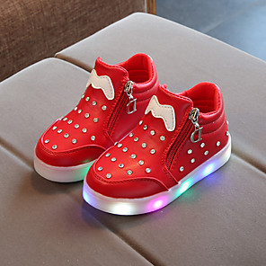 cheap Kids' LED Shoes-Boys' / Girls' Boots LED / Bootie / LED Shoes PU Toddler(9m-4ys) / Little Kids(4-7ys) / Big Kids(7years +) Chain / LED / Luminous White / Black / Red Spring &  Fall / Booties / Ankle Boots