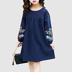 cheap Kids' Hats & Caps-Kids Girls' Sweet Street chic Daily Going out Floral Embroidered Long Sleeve Dress Navy Blue / Cotton