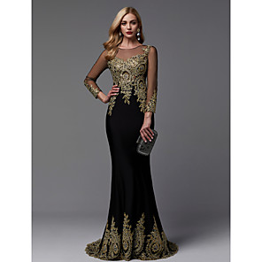 cheap Evening Dresses-Mermaid / Trumpet Sparkle Black Wedding Guest Formal Evening Dress Illusion Neck 3/4 Length Sleeve Sweep / Brush Train Jersey Spandex with Beading Appliques 2020