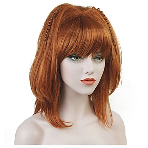 cheap Synthetic Trendy Wigs-Synthetic Wig Straight Bob Wig Medium Length Synthetic Hair Women's Kanekalon Hair Red StrongBeauty