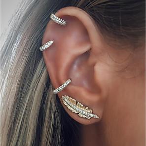 cheap Hair Jewelry-Women's Ear Piercing Stud Earrings Clip on Earring cuff Leaf Ladies Vintage Fashion Earrings Jewelry Silver For Holiday Bar 4pcs