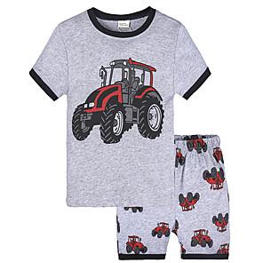 cheap Boys' Clothing Sets-Toddler Boys' Active Vintage Daily School Print Short Sleeve Regular Regular Clothing Set Gray