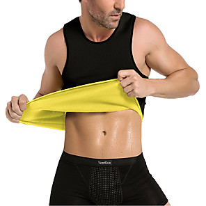 cheap Body Massager-Sweat Vest Waist Trainer Vest Neoprene Tank Top Sports Neoprene Exercise & Fitness Gym Workout No Zipper Hot Sweat Slimming Weight Loss Tummy Fat Burner For Men
