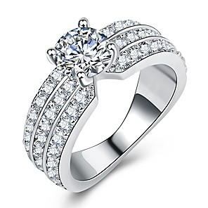 cheap Rings-Women's Ring Promise Ring Micro Pave Ring 1pc Silver Brass Platinum Plated Imitation Diamond Four Prongs Ladies Luxury Unique Design Wedding Gift Jewelry Stylish Halo Eyes Fireworks Cool
