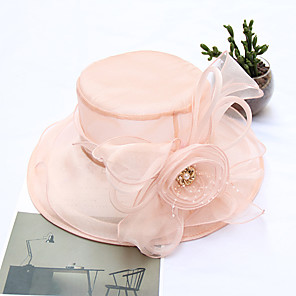 cheap Party Hats-Tulle Headwear with Cap 1pc Wedding / Party / Evening / Horse Race Headpiece