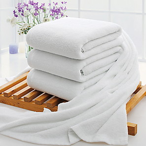 cheap Rugs-Superior Quality Bath Towel, Solid Colored Poly / Cotton 3 pcs