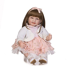 cheap Reborn Doll-NPKCOLLECTION 24 inch NPK DOLL Reborn Doll Indian Girl Reborn Toddler Doll Gift Hand Made Artificial Implantation Brown Eyes Cloth 3/4 Silicone Limbs and Cotton Filled Body with Clothes and
