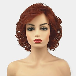 cheap Synthetic Trendy Wigs-Synthetic Wig Curly Layered Haircut Wig Short Red Synthetic Hair Women's Synthetic Red StrongBeauty
