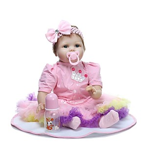 cheap Reborn Doll-NPKCOLLECTION 24 inch NPK DOLL Reborn Doll Girl Doll Baby Girl Reborn Toddler Doll lifelike Gift Artificial Implantation Blue Eyes Cloth 3/4 Silicone Limbs and Cotton Filled Body with Clothes and