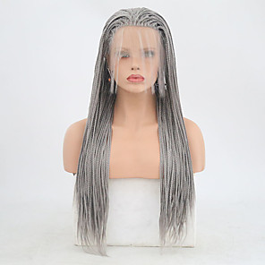 cheap Synthetic Lace Wigs-Synthetic Lace Front Wig Box Braids Braid Lace Front Wig Long Grey Synthetic Hair 24 inch Women's Adjustable Heat Resistant Women Gray