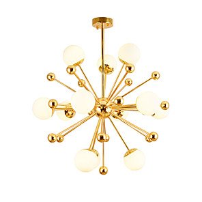 cheap Globe Design-Modern LED Glass Pendant Lights Globe Chandelier With 12-Lights Electroplated Gold Finish G4 Bulb Base