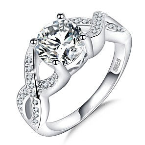 cheap Rings-Women's Ring 1pc Silver Platinum Plated Imitation Diamond White Gold Four Prongs Ladies Unique Design Elegant Wedding Party Jewelry Crossover Halo Simulated Precious Infinity Cute