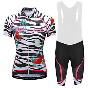 cheap Cycling Jersey & Shorts / Pants Sets-Malciklo Women's Cycling Jersey with Bib Shorts - White / Black Plus Size Bike Bib Shorts Jersey Quick Dry Anatomic Design Reflective Strips Sports Lycra Floral / Botanical Mountain Bike MTB Road