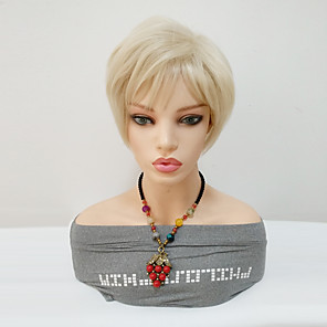 cheap Synthetic Lace Wigs-Synthetic Wig Straight Pixie Cut Asymmetrical Wig Blonde Short Blonde Synthetic Hair 8 inch Women's Women For Black Women Blonde
