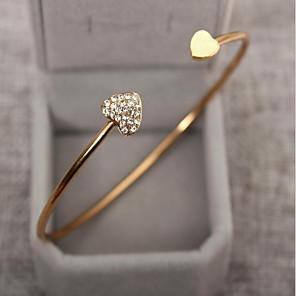 Women's Cubic Zirconia tiny diamond Bracelet Bangles Cuff Bracelet Rhinestone Gold Plated Heart Love Ladies Basic