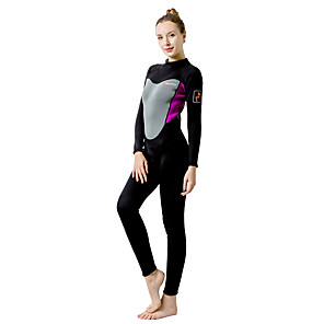 cheap Wetsuits, Diving Suits & Rash Guard Shirts-WELLPATH Women's Full Wetsuit 3mm Neoprene Diving Suit UV Sun Protection Quick Dry Ultraviolet Resistant Long Sleeve Swimming Diving Fashion Spring Summer Fall / Winter