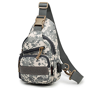 cheap Backpacks & Bags-15 L Hiking Sling Backpack Military Tactical Backpack Breathable Rain Waterproof Wear Resistance Outdoor Fishing Hiking Military / Tactical Oxford Grey Camouflage Khaki