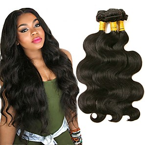 povoljno Ekstenzije od ljudske kose-3 paketa Malezijska kosa Tijelo Wave Ljudska kosa 150 g Ljudske kose plete Bundle kose Ekstenzije od ljudske kose 8-28 inch Prirodna boja Isprepliće ljudske kose proširenje Najbolja kvaliteta / 8A