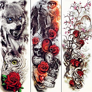 cheap Tattoo Stickers-decal-style-temporary-tattoos-arm-temporary-tattoos-3-pcs-animal-series-flower-series-smooth-sticker-eco-friendly-disposable-body-arts-halloween