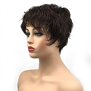 cheap Human Hair Capless Wigs-Synthetic Wig Curly Pixie Cut Wig Short Dark Brown / Dark Auburn Synthetic Hair Women's Synthetic Dark Brown StrongBeauty
