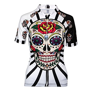 cheap Cycling Jerseys-21Grams Women's Cycling Jersey Spandex Polyester Red / White Black Purple Sugar Skull Plus Size Bike Jersey Mountain Bike MTB Road Bike Cycling Breathable Quick Dry Anatomic Design Sports Clothing