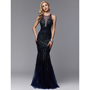 cheap Evening Dresses-Mermaid / Trumpet Sparkle & Shine See Through Beaded & Sequin Formal Evening Wedding Party Dress Jewel Neck Sleeveless Floor Length Lace Tulle with Pleats Beading Appliques 2020