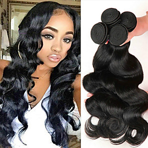 cheap Human Hair Weaves-4 Bundles Hair Weaves Indian Hair Body Wave Human Hair Extensions Remy Human Hair 100% Remy Hair Weave Bundles Natural Color Hair Weaves / Hair Bulk Human Hair Extensions 8-28 inch Natural Color / 8A
