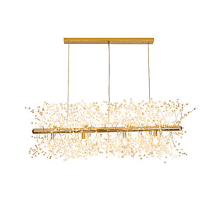 cheap Pendant Lights-LED Chandeliers Firework Stainless Steel Crystal Island Pendant Lighting With 12-Lights G9 Bulb Base Electroplated Gold Finish