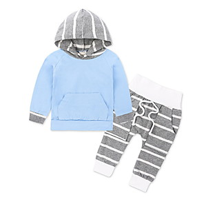 cheap Kids' Boots-Baby Boys' Basic Daily Solid Colored Long Sleeve Regular Clothing Set Blue / Toddler