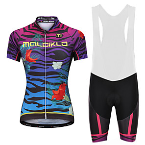 cheap Cycling Jersey & Shorts / Pants Sets-Malciklo Women's Cycling Jersey with Bib Shorts - White / Black Plus Size Bike Bib Shorts Jersey Quick Dry Anatomic Design Reflective Strips Sports Lycra Vertical Strips Mountain Bike MTB Road Bike