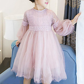 cheap Girls' Dresses-Kids Girls' Sweet Daily Going out Patchwork Mesh Long Sleeve Dress White