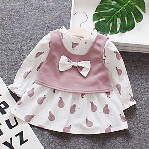 cheap Baby Girls'  Dresses-Baby Girls' Basic Print Long Sleeve Cotton Dress Blushing Pink / Toddler