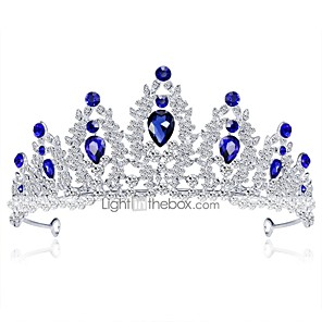 cheap Hair Jewelry-Women's Tiaras For Wedding Party Homecoming Royalty Beaded Cubic Zirconia Rhinestone Silver Plated Alloy Blue White
